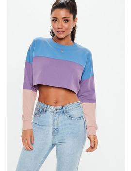 Blue Color Block Crop Sweatshirt by Missguided
