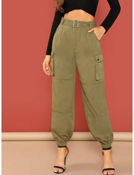 Self Adjustable Belted Elastic Hem Pants by Shein