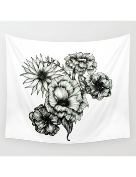 Floral Ink Iii Wall Tapestry by