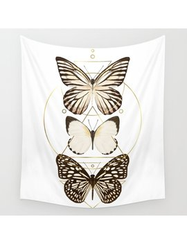 Butterflies And Gold Geometry Wall Tapestry by