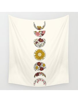 Floral Phases Of The Moon Wall Tapestry by