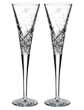 Happy Celebrations Set Of 2 Monogram Lead Crystal Champagne Flutes by Waterford