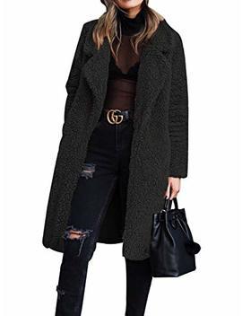 Gzbinz Women Fuzzy Fleece Coat Open Front Cardigan Lapel Long Coats Outwear Winter Warm Jacket S 3 Xl by Gzbinz