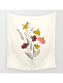 Wildflowers Bouquet Wall Tapestry by