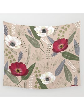 Anemones & Palms Wall Tapestry by