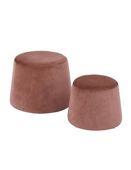 Furniture R 2 In 1 Velvet/Fabric Pouffe Round Footstool Seat Nest Ottoman Low Stool Chair (Cliff Velvet Pink) by Furniture R