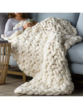 Brayden Studio Wonarah Chunky Knit Wool Throw by Brayden Studio