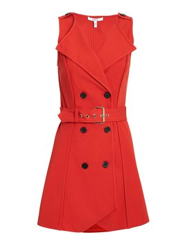 Red Belted Trench Dress by Derek Lam 10 Crosby
