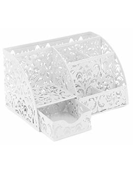 Easy Pag Office Desk Organizer 5 Compartments Desktop Accessories Caddy With Drawer,White by Amazon