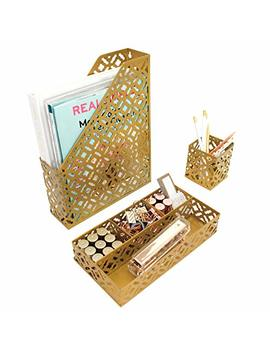 Blu Monaco Gold Desk Organizer For Women   3 Piece Desk Accessories Set   Pen Cup, Magazine File Mail Holder, And Accessories Tray   Antique Gold Brass Finish Office Supplies Stationery Decor by Blu Monaco