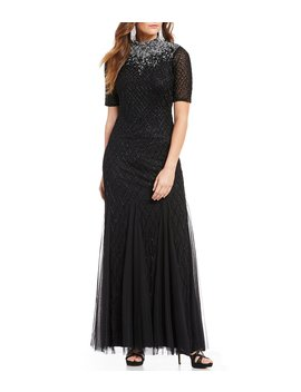 Beaded Mock Neck Sequin Gown by Adrianna Papell