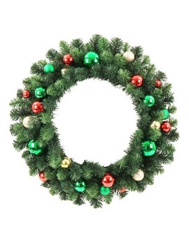 "24"" Christmas Unlit Red/Green And Champagne/Gold Ornaments Artificial Pine Wreath   Wondershop™ by Wondershop"