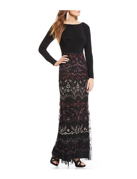 Beaded Skirt Jersey Gown by Adrianna Papell