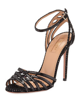 Studio Sequin Sandals With Ankle Strap Velvet by Aquazzura
