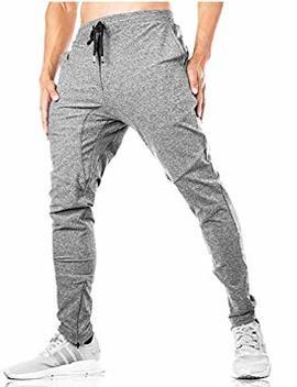 Faskunoie Men's Zipper Ankle Joggers Gym Track Sweatpants Elastic Cotton Pants With Pockets by Faskunoie