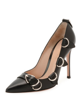 Leather Buckle Strap Pointed High Pumps by Gianvito Rossi