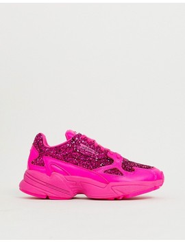Adidas Originals Premium Pink Glitter Falcon Trainers by Adidas