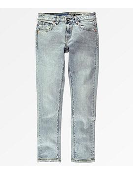 Volcom Boys Solver Allover Stone Light Blue Tapered Jeans by Volcom
