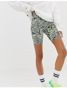 Asos Design Animal Print With Neon Pop Legging Short by Asos Design