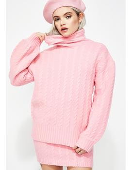 Bubblegum Pop Cable Knit Sweater by After Market