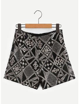 Geo Pattern Sequin Shorts by Sheinside