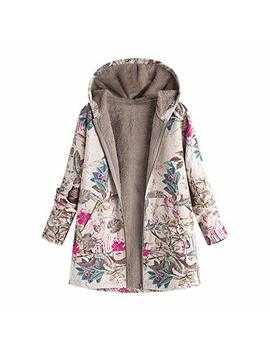 Nrealy Jacket Women's Winter Warm Outwear Floral Print Hooded Pockets Vintage Oversize Coats by Nrealy