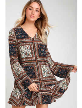Crack A Smile Cream And Navy Multi Print Long Sleeve Shift Dress by Lulus