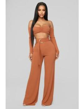 Flow With Me Pant Set   Rust by Fashion Nova
