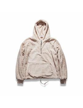 Streetwear Hip Hop Oversized Half Zipper Fleece Sherpa Hoodies Men by Amazon