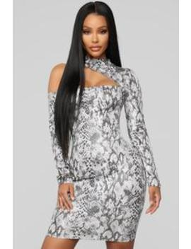 Feel My Bite Snake Print Mini Dress   Grey Snake by Fashion Nova