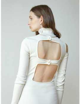 Open Back Roll Neck Jersey Dress White by Moontan