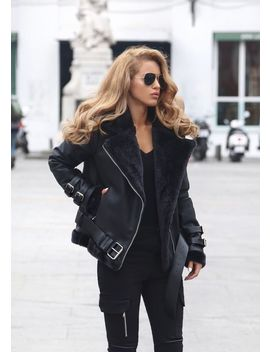 New Black Faux Leather Shearling Warm Women Aviator Coat Winter Pilot Jacket by Bonanza