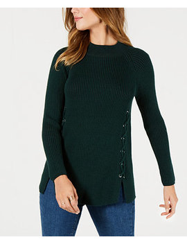 Lace Up Mock Turtleneck Sweater, Created For Macy's by Style & Co
