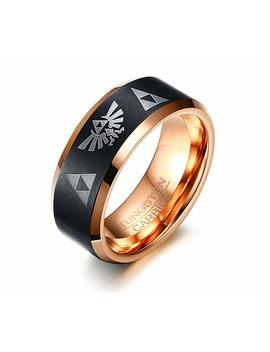 Mp Rainbow Ring Mp 8mm Tungsten Carbide The Legend Of Zelda Triforce Ring Wedding Engagement Band For Men by Mp Rainbow Ring