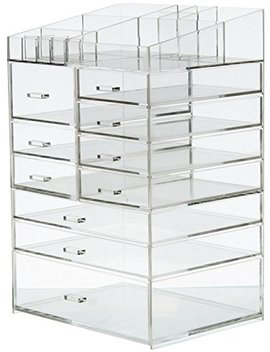 Cq Acrylic Extra Large 8 Tier Clear Acrylic Cosmetic Makeup Storage Cube Organizer With 10 Drawers. The Top Of The Different Size Of The Compartment Suitable For Storing Lipstick And Makeup Brush by Cq Acrylic