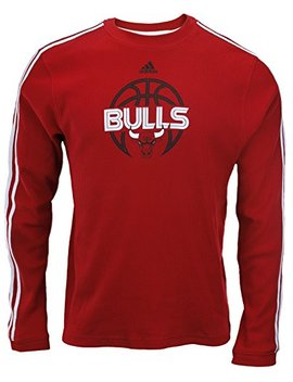 Adidas Chicago Bulls Nba Mens 3 Stripe Long Sleeve Thermal Shirt, Red by Adidas