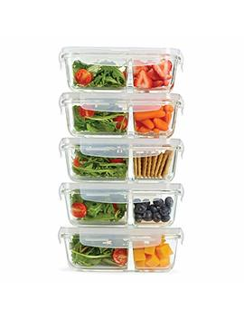 Fit & Fresh Divided Glass Containers, 5 Pack, Two Compartments, Set Of 5 Containers With Locking Lids, Glass Storage, Meal Prep Containers With Airtight Seal, 27 Oz. by Fit & Fresh