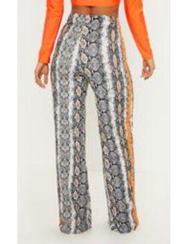 Snake Print Contrast Side Stripe Wide Leg Trouser by Prettylittlething