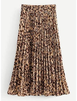 Leopard Print Pleated Skirt by Sheinside
