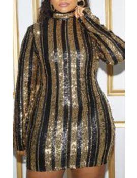 Plus Black Sequin Stripe Bodycon Dress by Prettylittlething