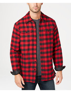 Men's Fleece Lined Plaid Flannel Shirt Jacket by Dickies