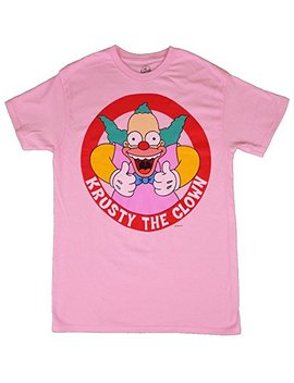 Fashion The Simpsons Krusty The Clown Light Pink Black Graphic T Shirt by Fashion