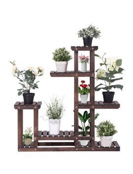 Costway Outdoor Wooden Plant Flower Display Stand 6 Wood Shelf Storage Rack Garden by Costway
