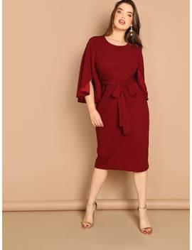 Plus Flutter Sleeve Tie Waist Bodycon Dress by Shein