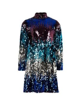 Girls Multi Sequin High Neck Shift Dress by River Island