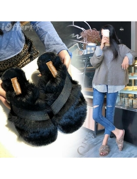 Womens Shoes Rabbit Fur Slippers Flats Heels Pump Boots by I Offer