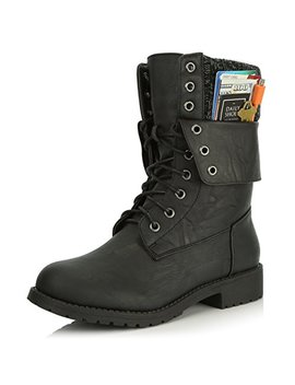 Daily Shoes Womens Military Up Buckle Combat Boots Ankle Mid Calf Fold Down Exclusive Credit Card Pocket by Daily Shoes