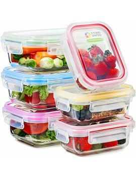 Glass Food Storage Containers With Lids   6 Pack, 2 Sizes (35 Oz, 12 Oz)   Meal Prep Lunch Boxes   Microwave, Fridge, Freezer, Dishwasher, Oven Safe   Bpa Free   Easy Snap, Airtight And Leakproof Lid by 5 Stars United