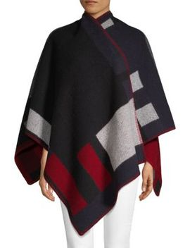 Geometric Print Wool & Cashmere Poncho by Burberry