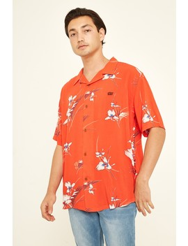 Stussy Hilo Rayon Ss Shirt Red by Universal Store